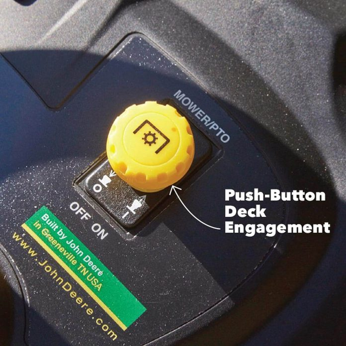 lawn tractor push-button engagement