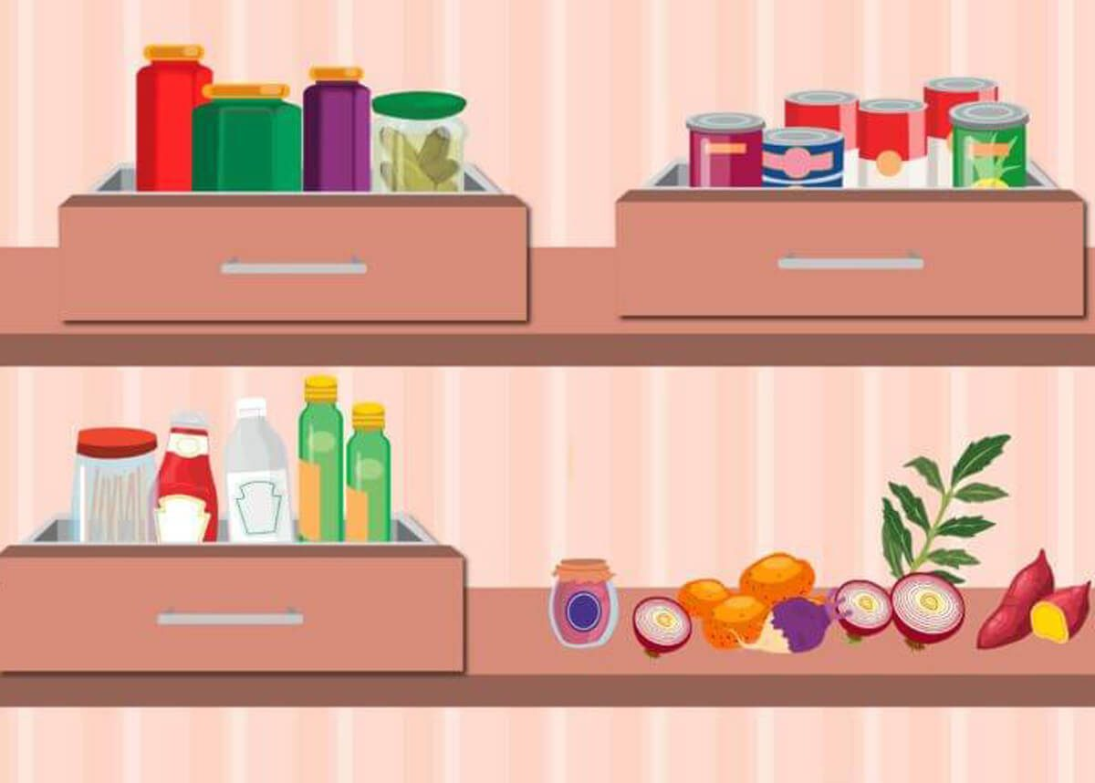 drawers on shelves pantry organization