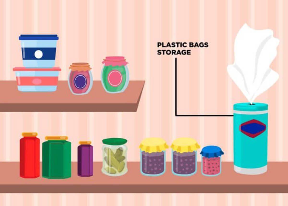 pantry organization plastic bag storage
