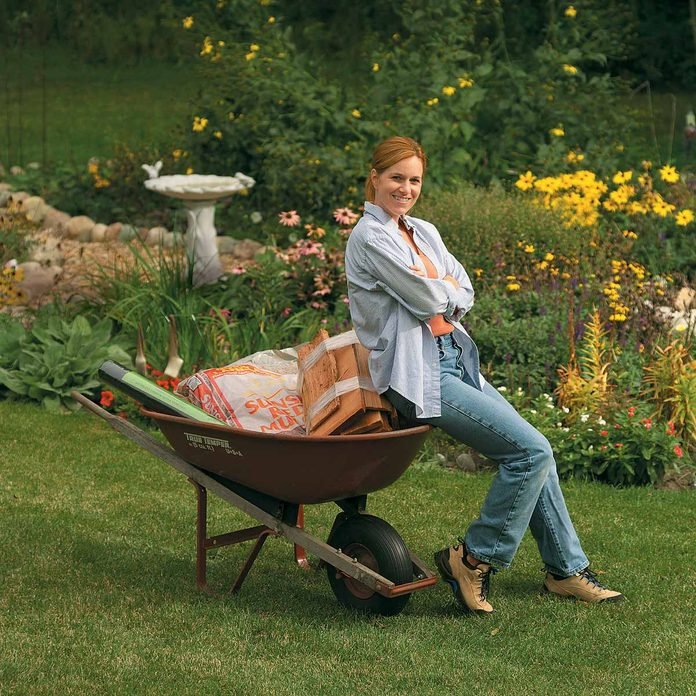 garden path in a wheelbarrow