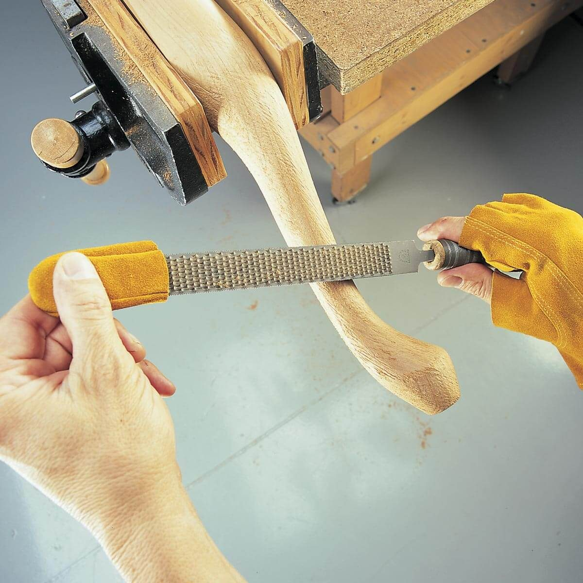 rasping woodworking project