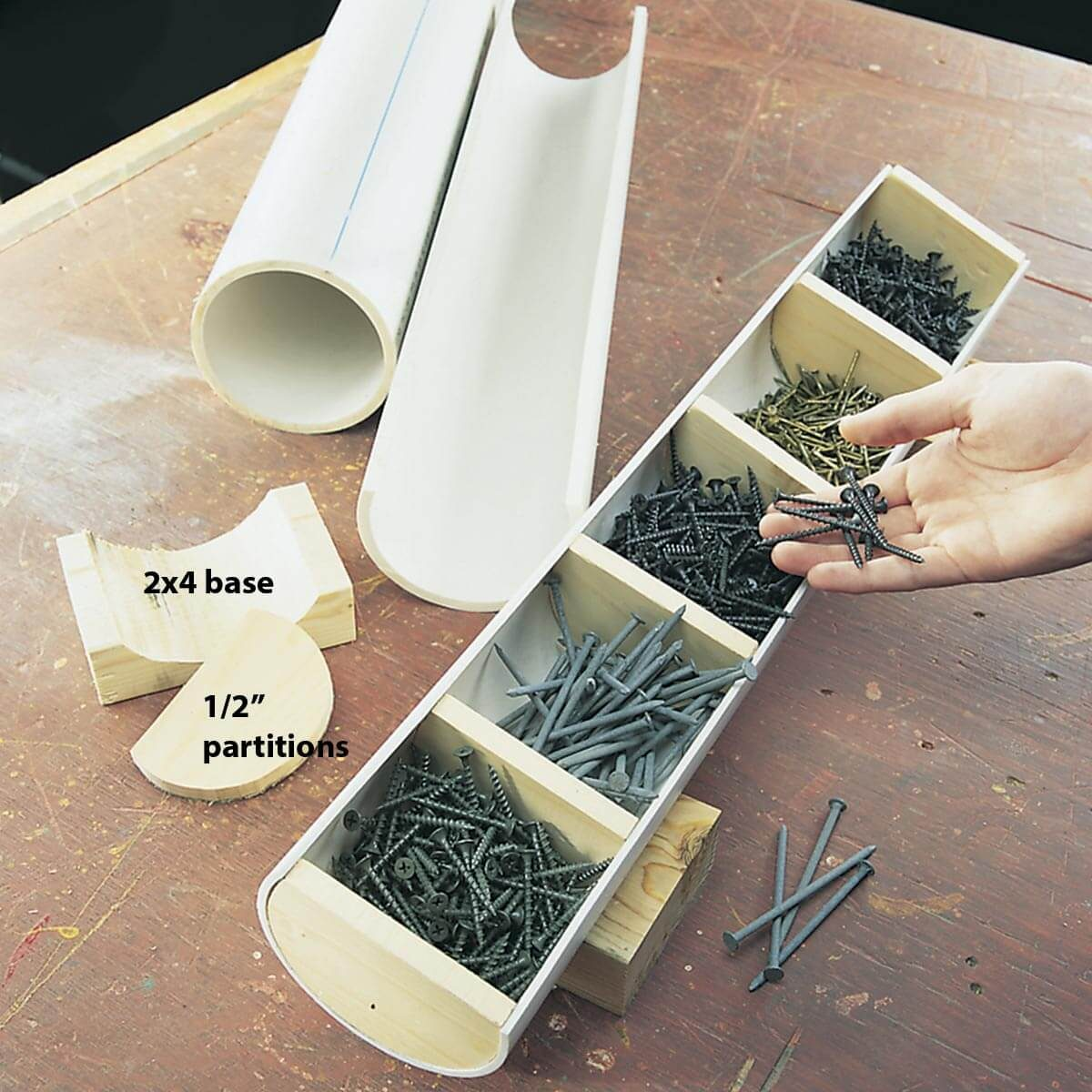 fastener storage with PVC