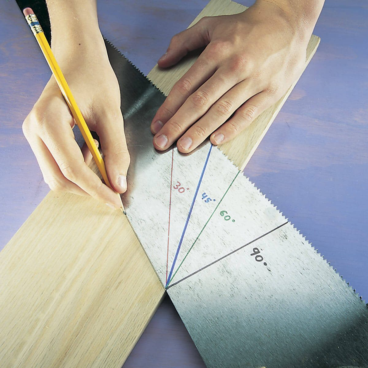 mark angles with your handsaw