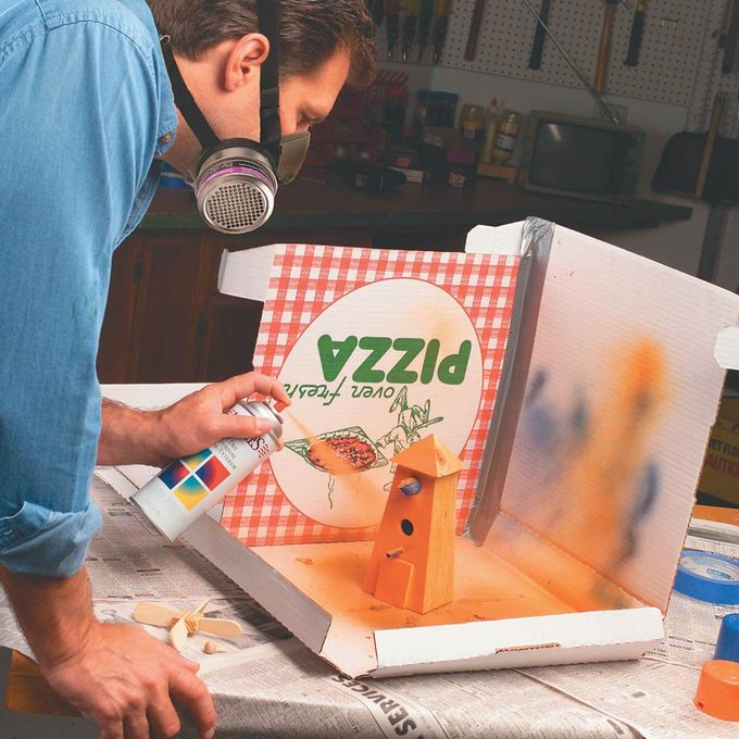 pizza box spray paint booth