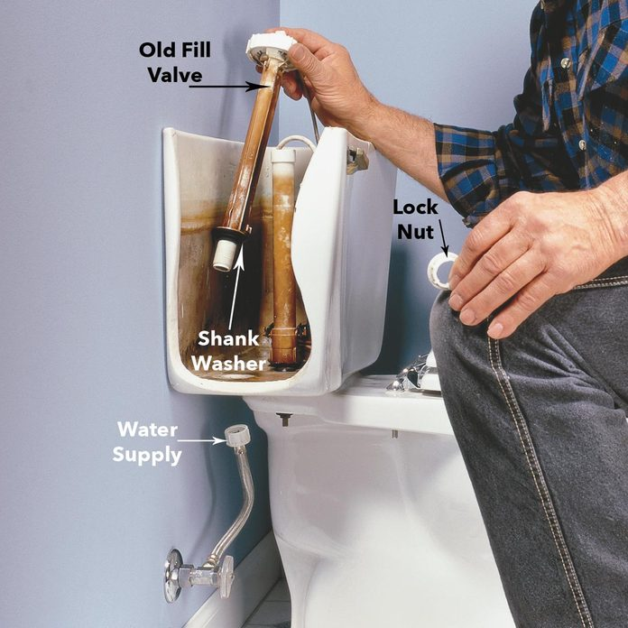 Toilet Troubleshooting: Remove the and Replace Old Toilet Fill Valve diagram