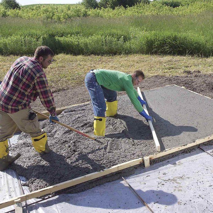 initial leveling concrete slab