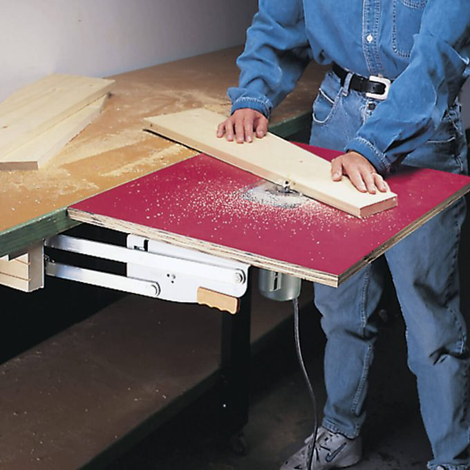 pull-out router table in use