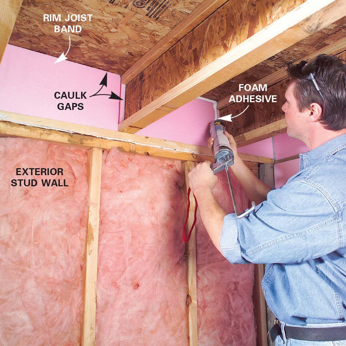Finishing a Basement - Caulk Gaps