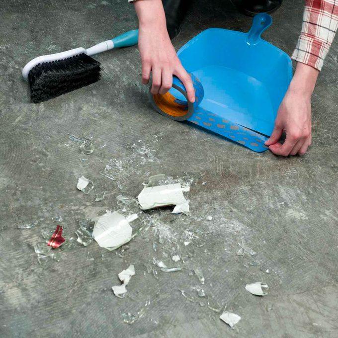 HH blue painters tape dustpan broken glass