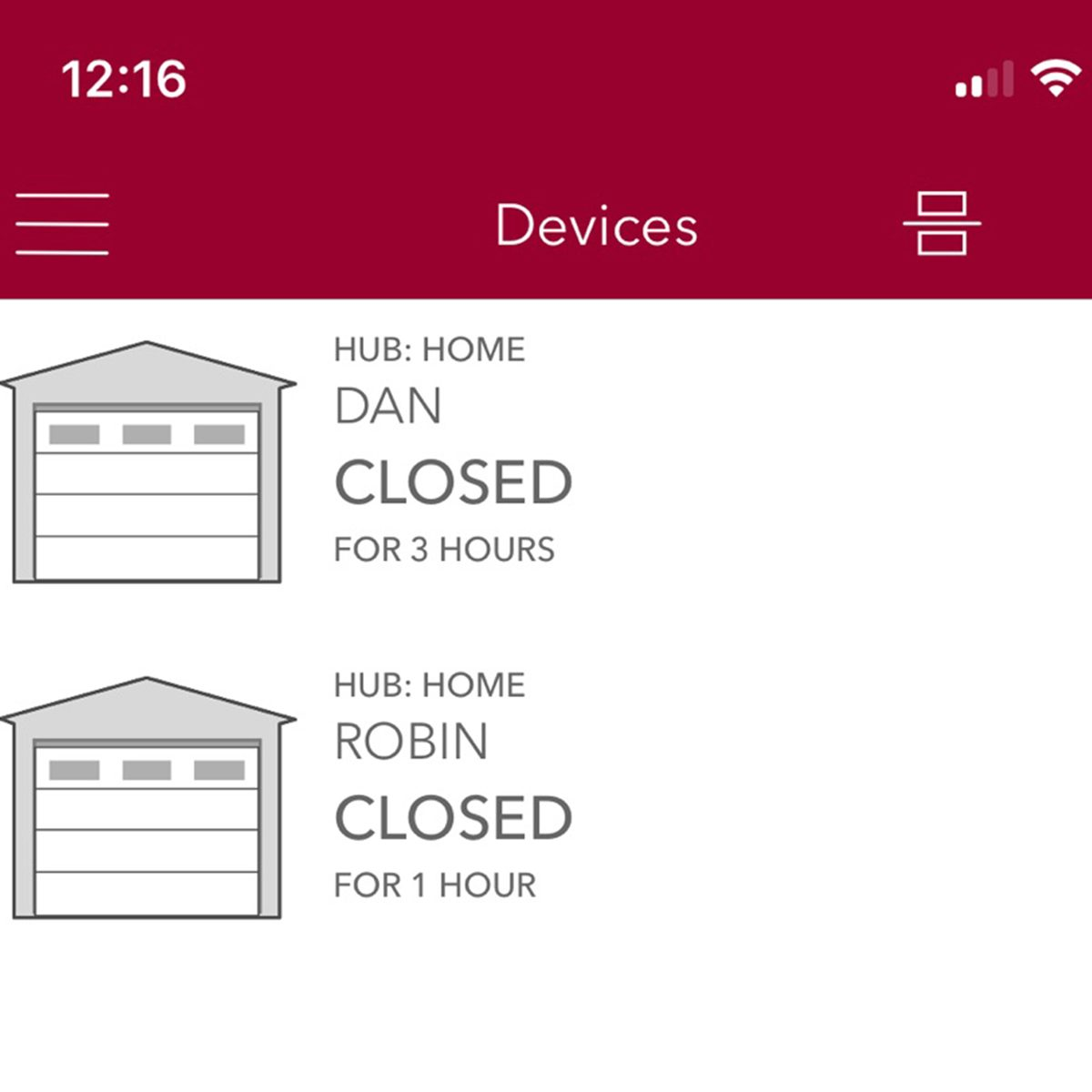 garage door app closed open