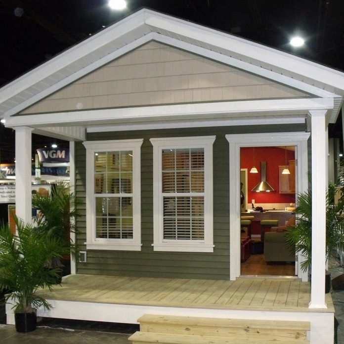 tiny home cottage with sitting porch