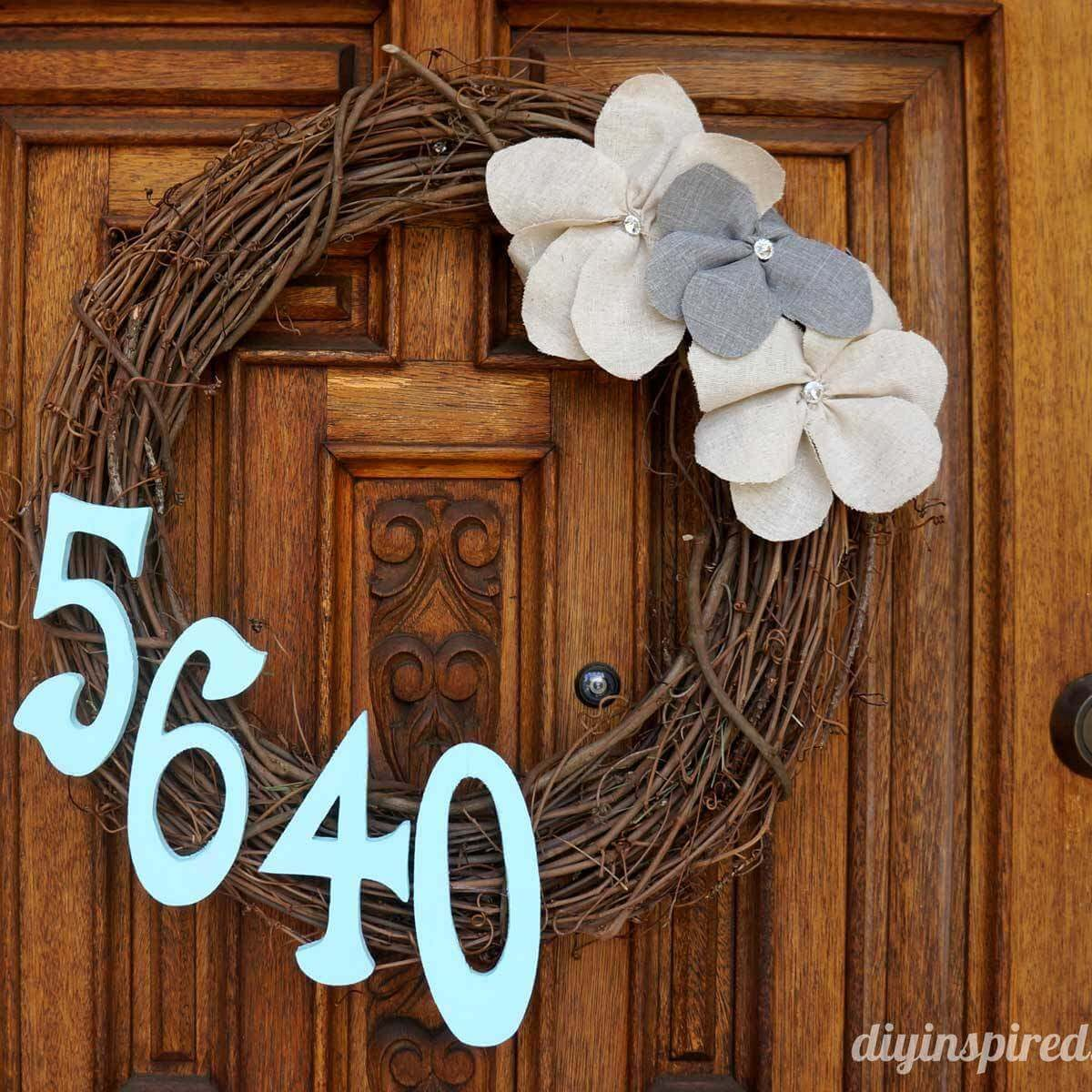 house number on a wreath