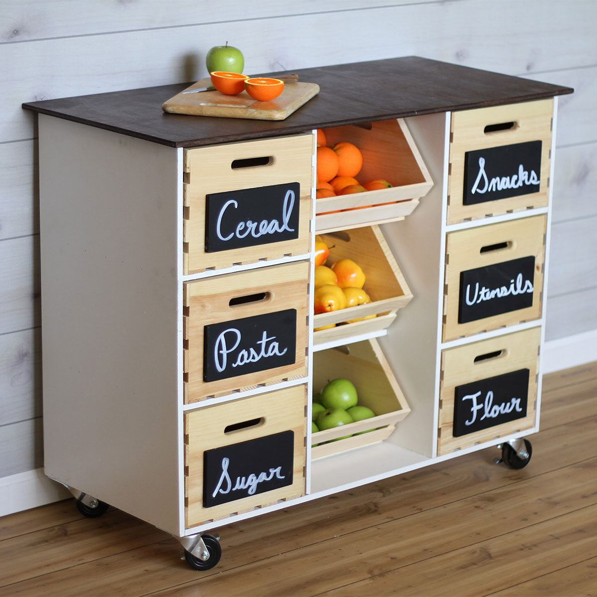 kitchen island cart with crates