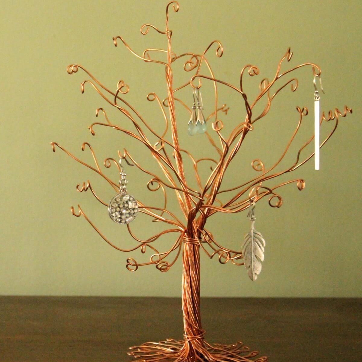 jewelry organizer copper wire tree