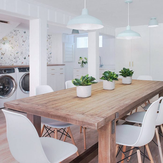 transitional style living room laundry