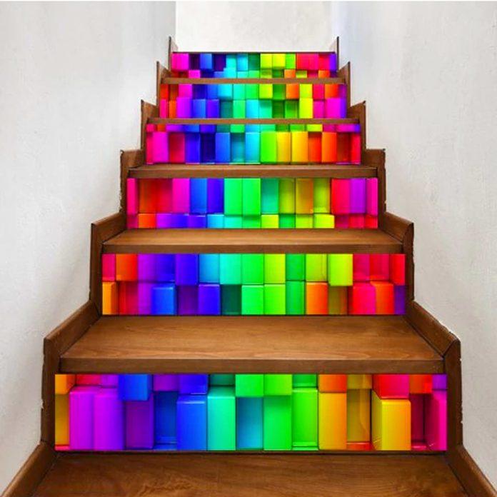 neon rainbow blocks stairs