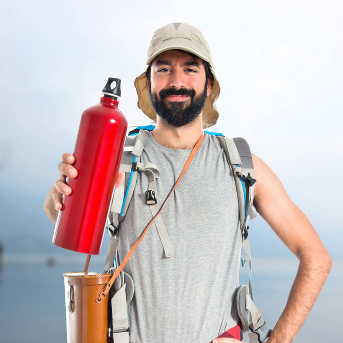 guy with water bottle