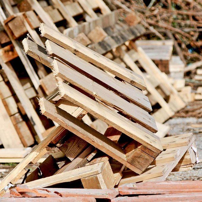 destroyed wood pallets