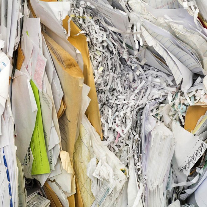 paper waste garbage recycle shredded