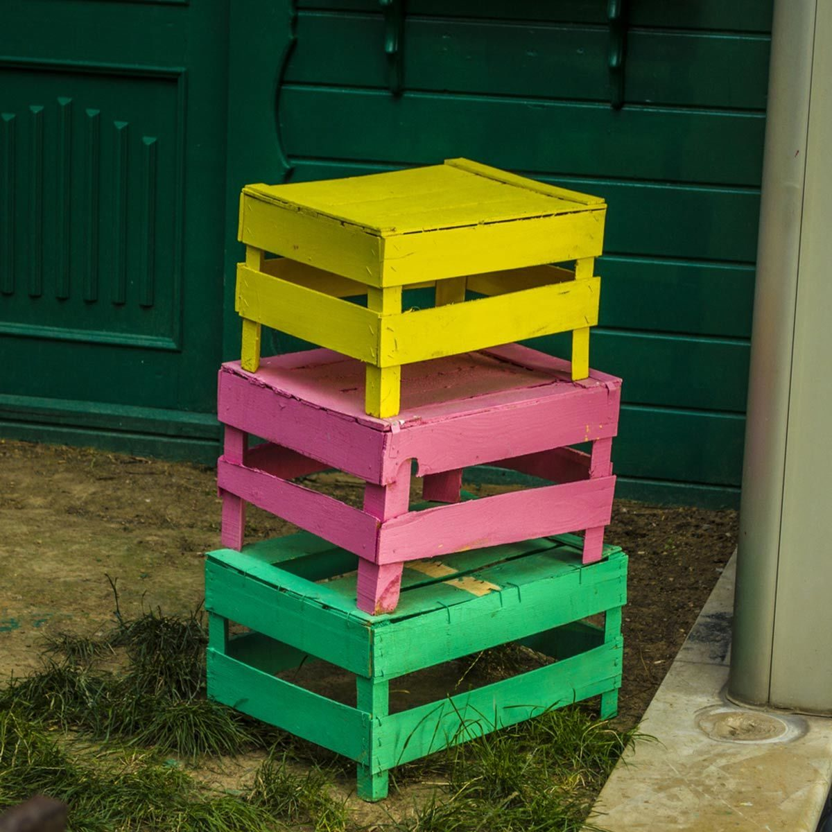 bright colored Boxes and Crates