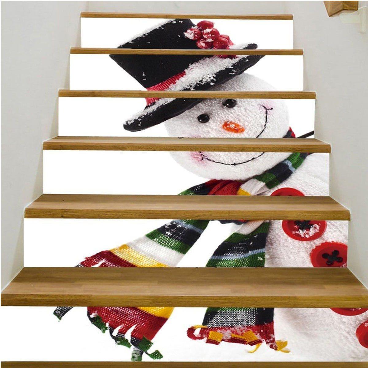 seasonal snowman stair risers