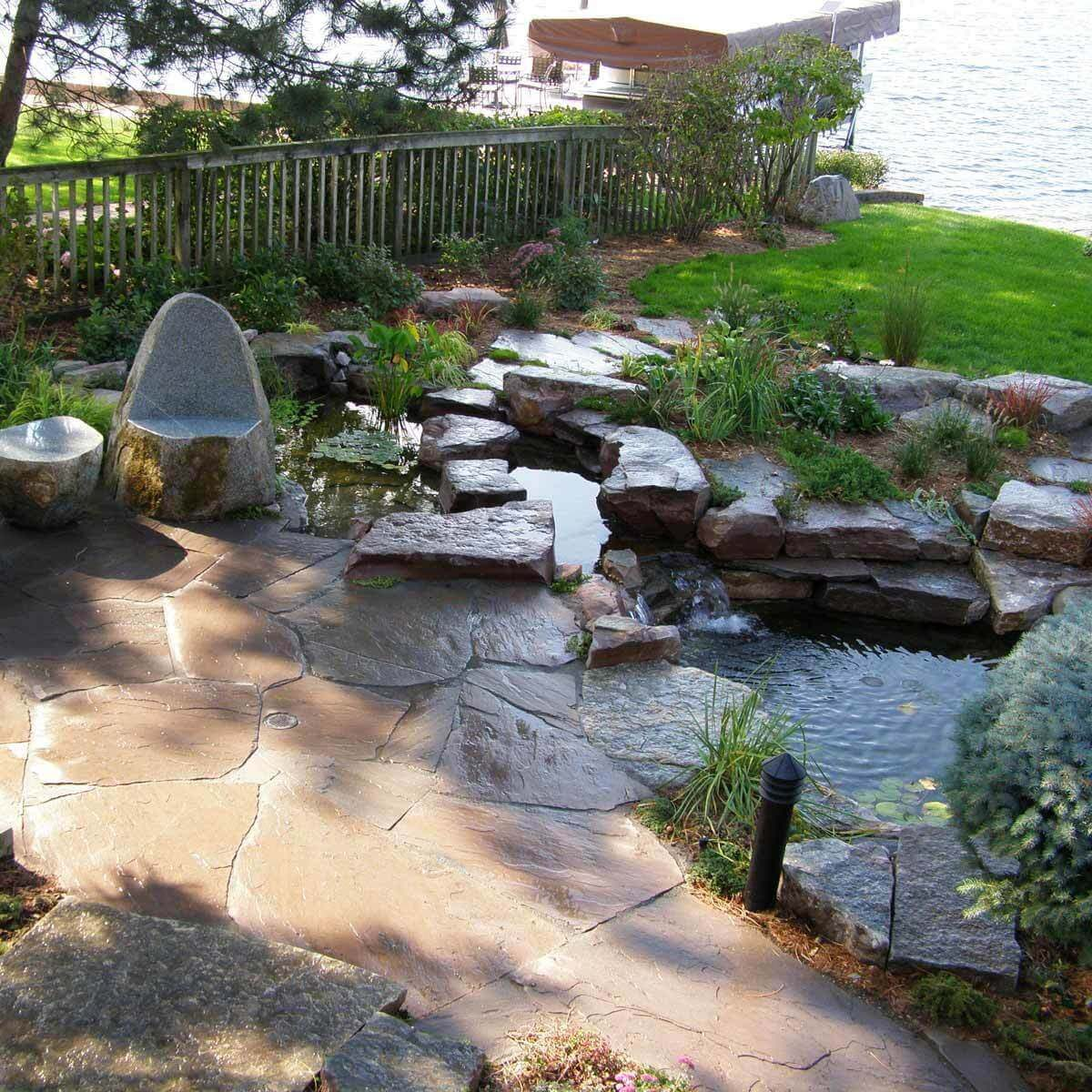Stone Patio with Pond