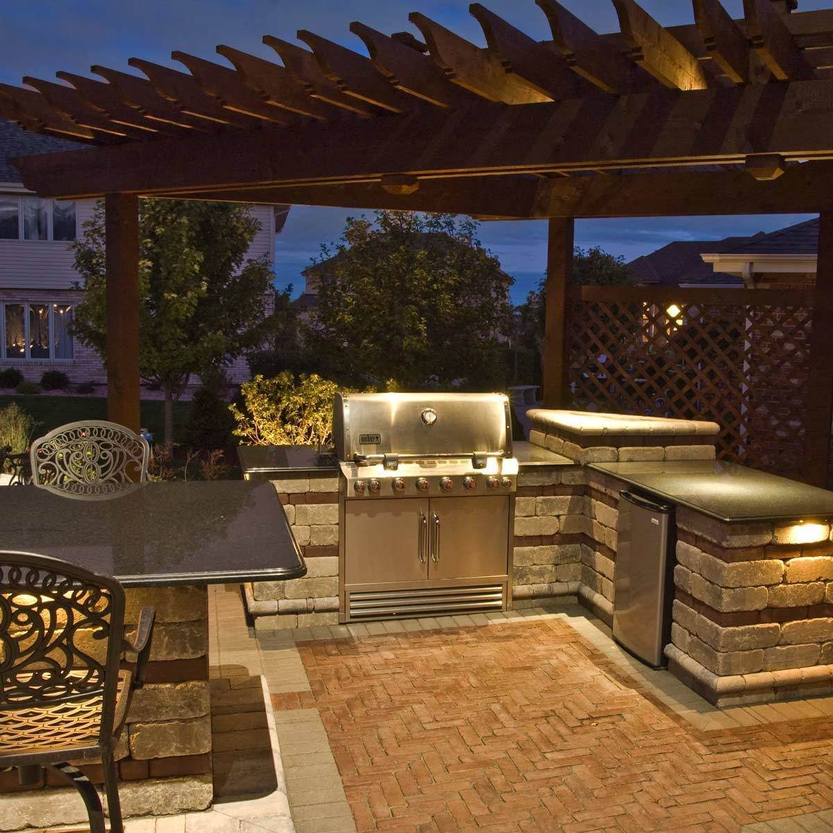 backyard kitchen pergola lighting
