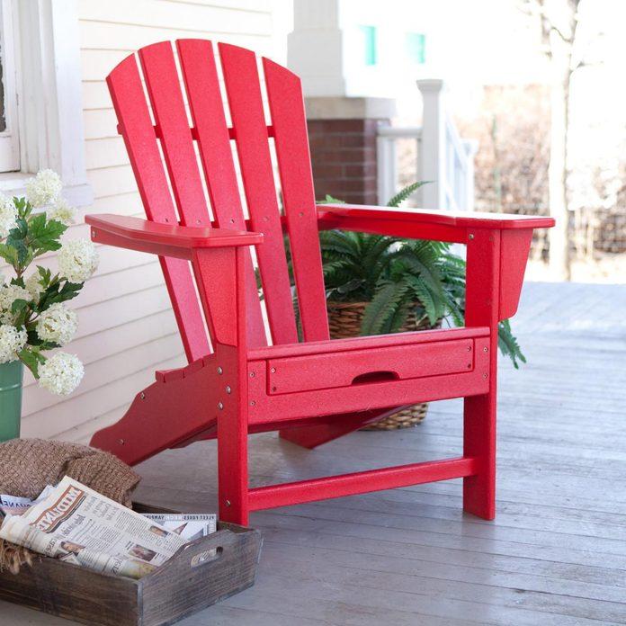 red adirondack chair