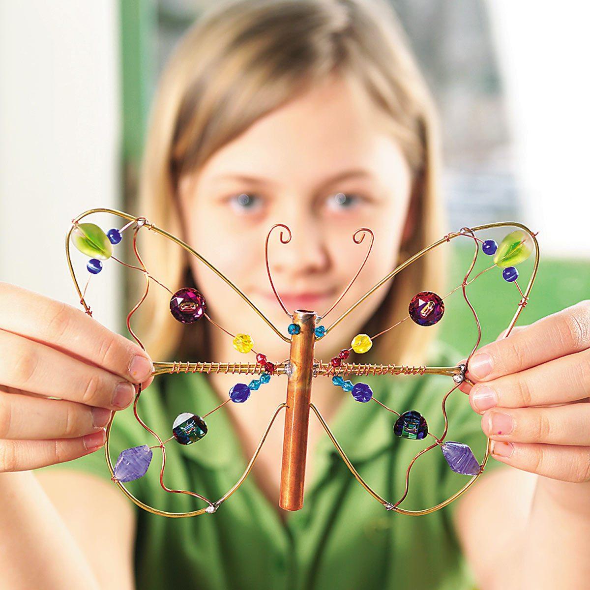 copper dragonflies garden ornament