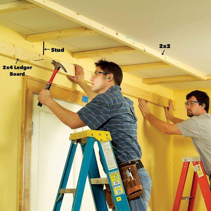 add ledgers tray ceiling framing