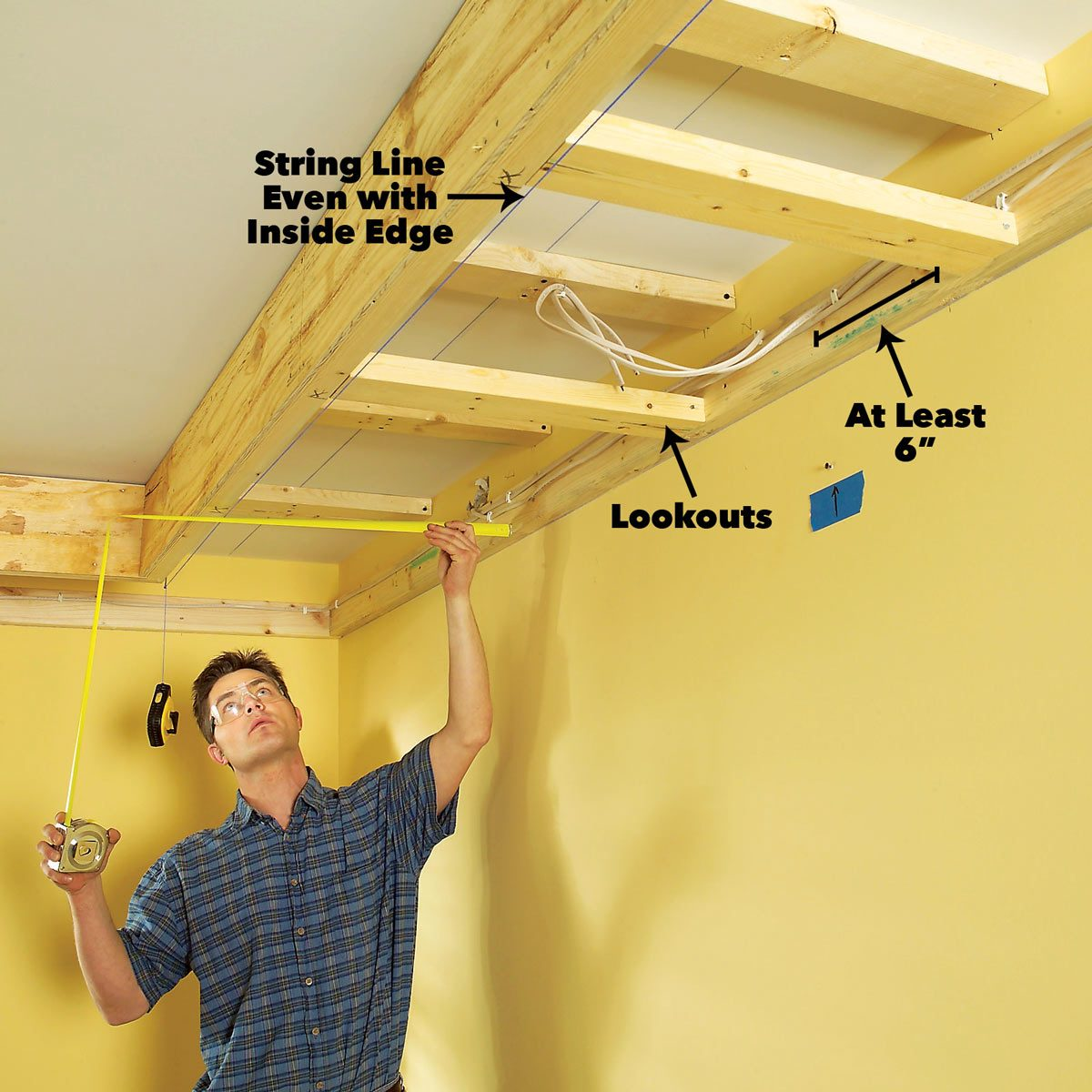 Add lookouts tray ceiling framing