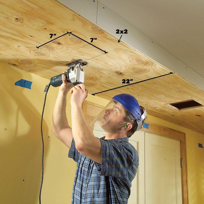 Cut holes for lights soffit lighting