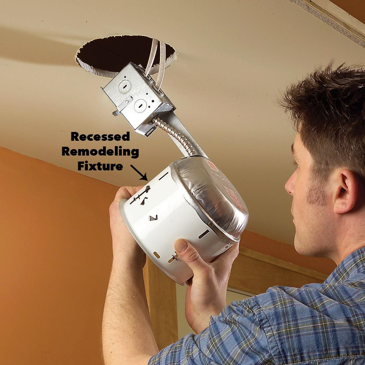 Install the recessed remodeling fixtures