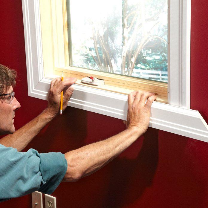 adjust final miter cut window trim