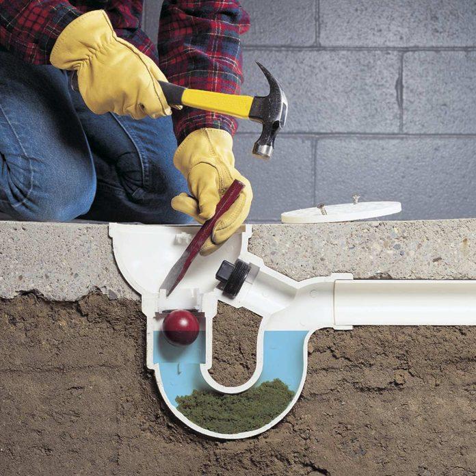 unclog under-floor plumbing
