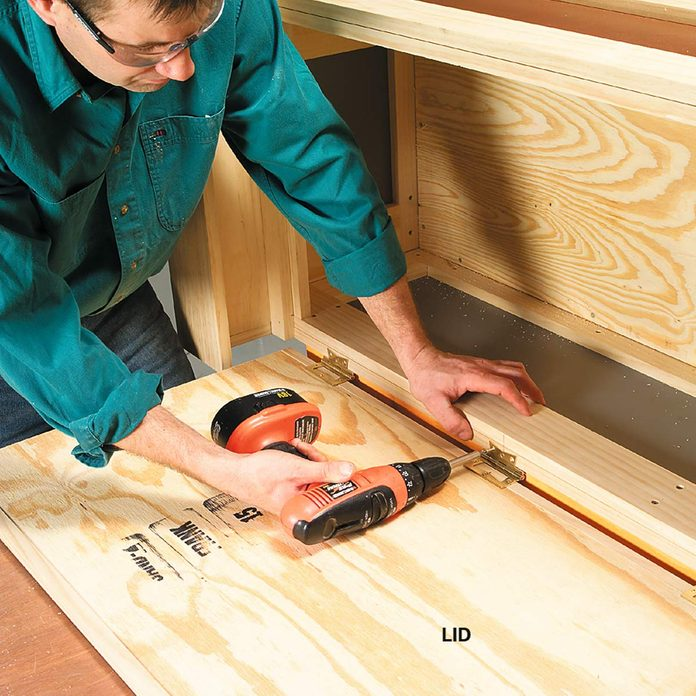 outside storage bench attach lid