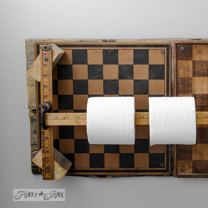 toilet paper holder checker board