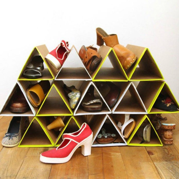 DIY cardboard shoe rack