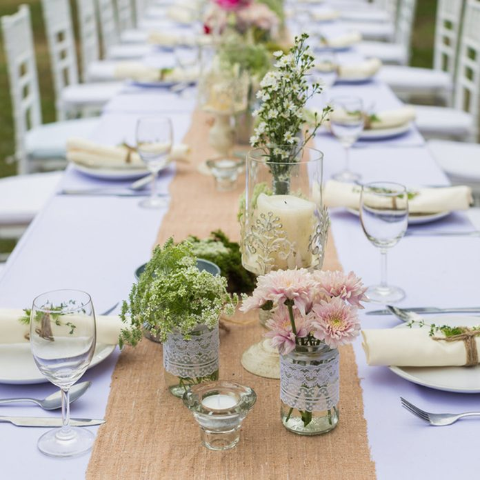 DIY outdoor wedding table center pieces outside wedding decorations