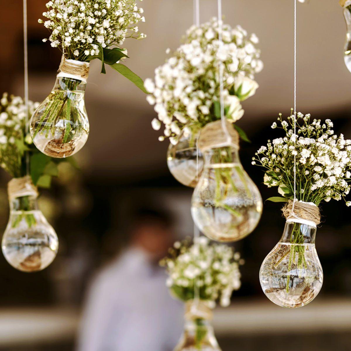 whimsical hanging lightbulb flowers wedding diy wedding decorations