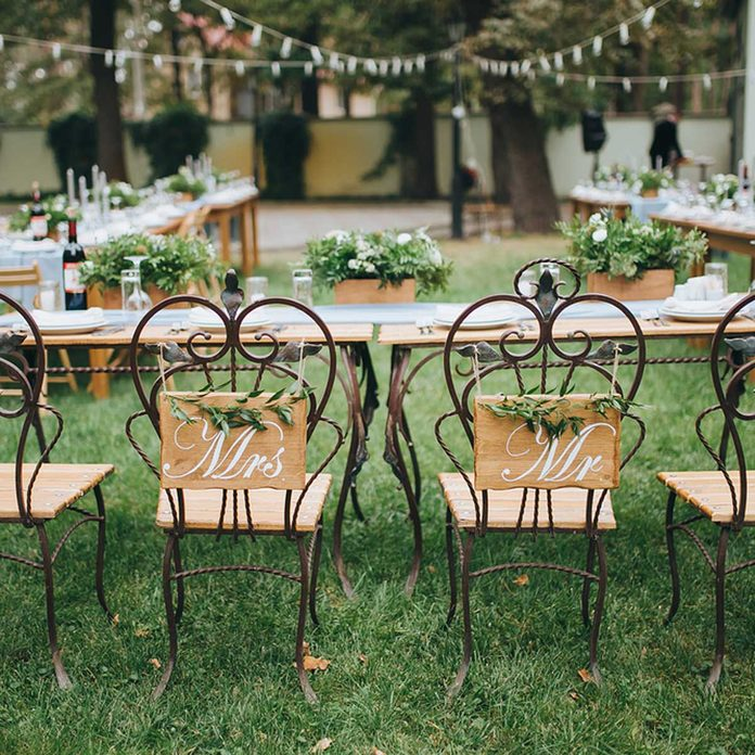 Outdoor Wedding reception seating