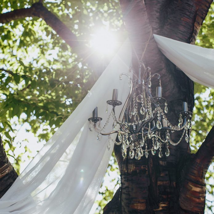 outdoor wedding hanging chandelier from a tree