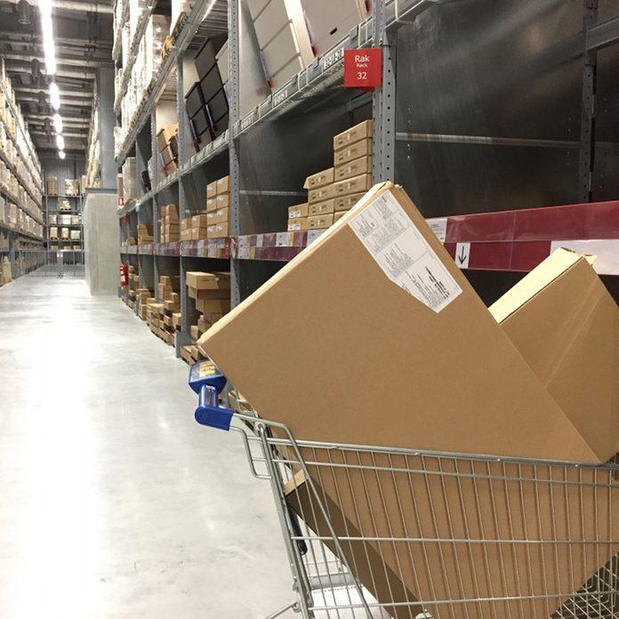 Ikea warehouse boxes shopping