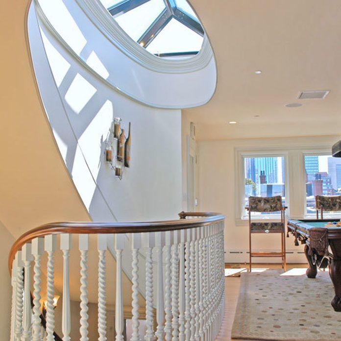 paint curved stairwell modern interior design