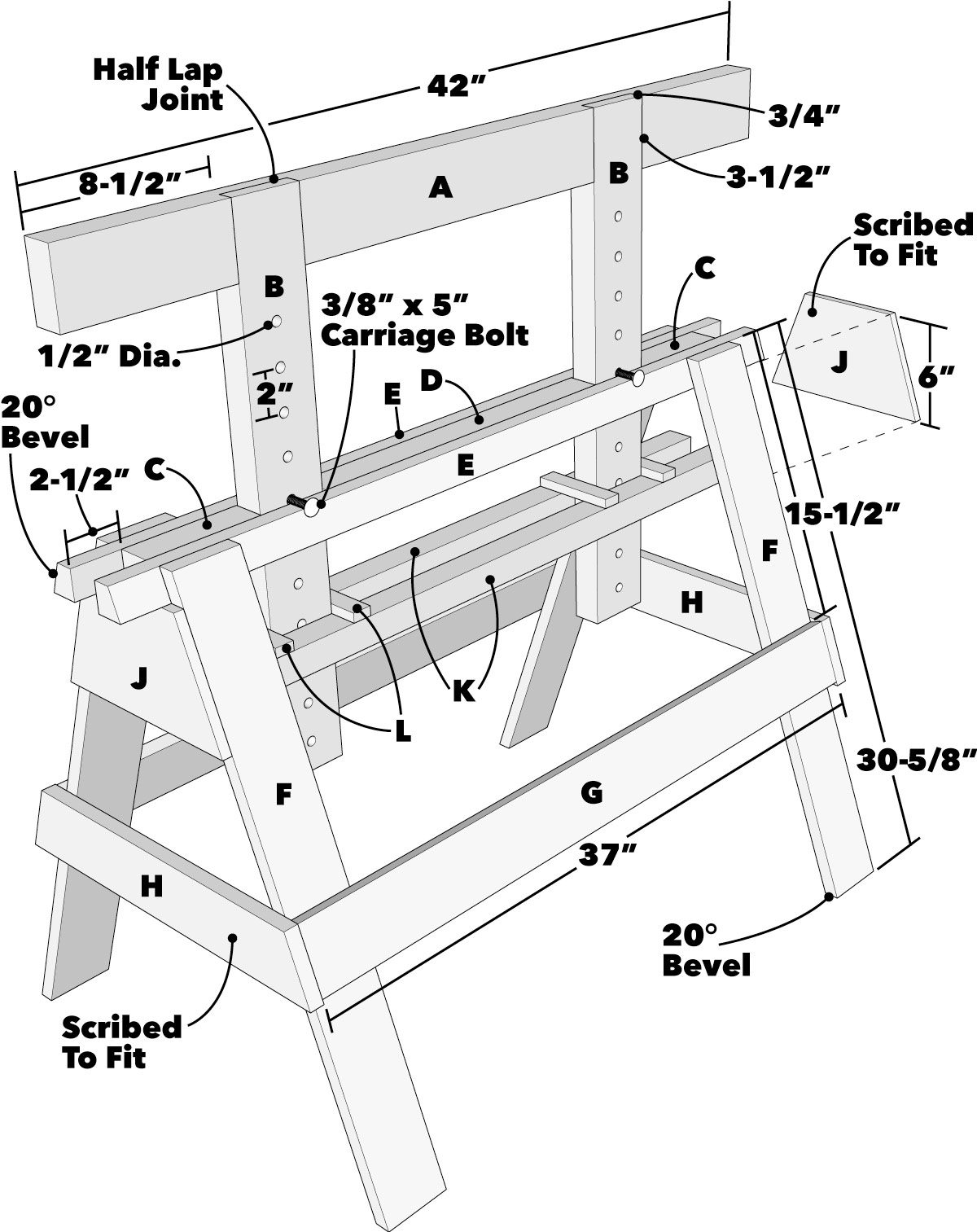 Adjustable Sawhorse Tech Art