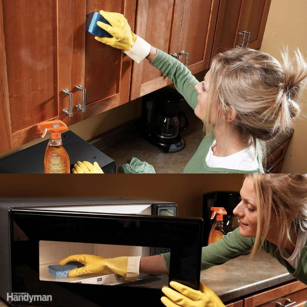cleaning grease with a hot rag