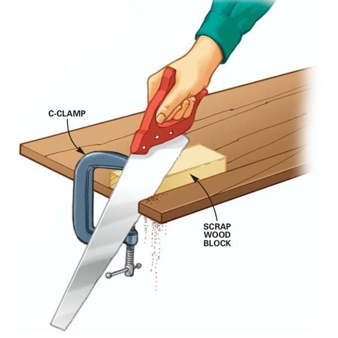 Handsaw cutting clamp