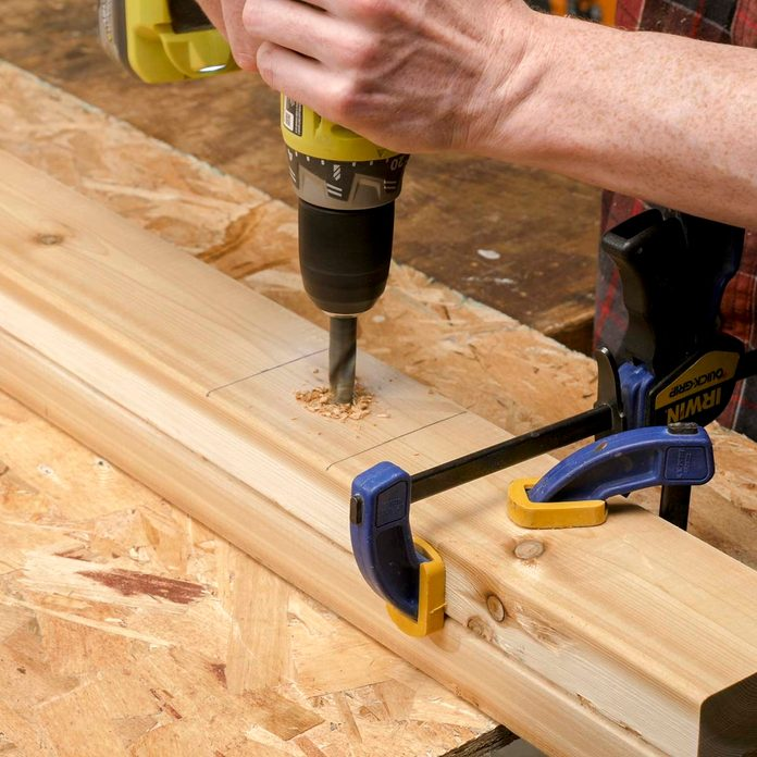 Trestle bench drill holes for slats
