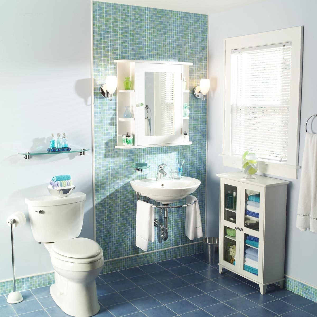 Bathroom makeover after blue teal tile wall