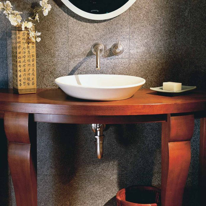 bathroom table mounted vessel sink and faucet